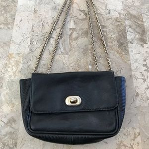 Ann Taylor Italian black leather gold hardware bag